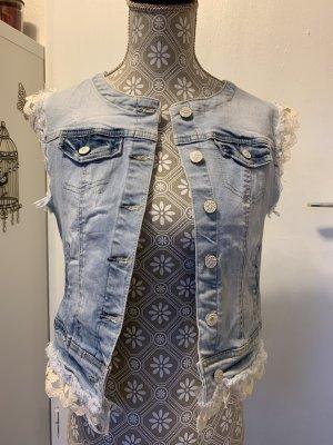 Simply Chic Gilet en jean bleu fluo-blanc