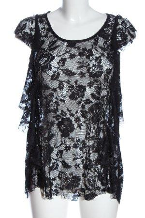 simply yas Kanten topje zwart bloemenprint casual uitstraling