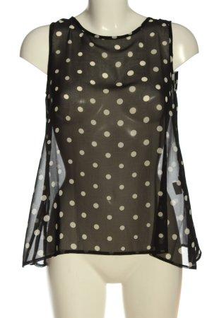 Sinéquanone ärmellose Bluse schwarz-weiß Punktemuster extravaganter Stil
