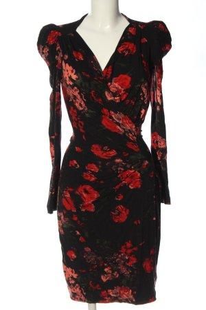 Sinéquanone Abito a maniche lunghe nero-rosso motivo floreale stile casual
