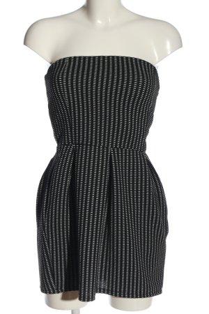 Sinsay schulterfreies Kleid schwarz-weiß Allover-Druck Casual-Look