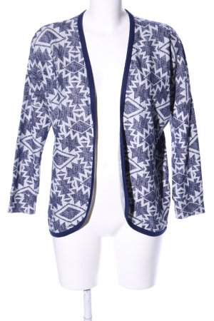 Sinsay Strick Cardigan blau-weiß grafisches Muster Business-Look