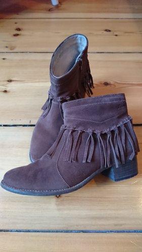 Sioux Damen Stiefeletten Ankle Boots*Leder*Boho Hippie Fransen Festival Look