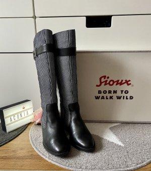Sioux Lederstiefel schwarz weiß Größe 36