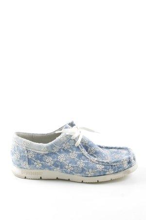 Sioux Mokassins blau-weiß Blumenmuster Casual-Look