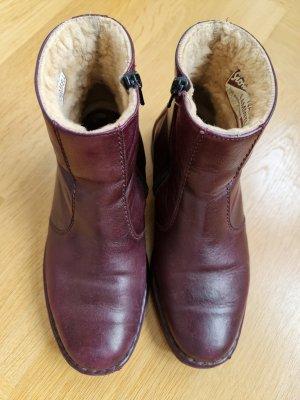 Sioux Futrzane buty bordo Skóra