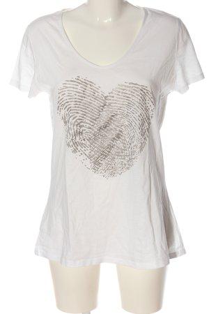 Sir Oliver Print-Shirt weiß-hellgrau Motivdruck Casual-Look