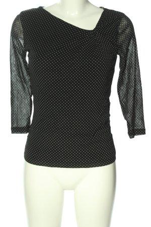 Sir Oliver V-Ausschnitt-Shirt schwarz-weiß Punktemuster Casual-Look