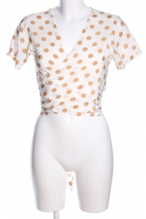 Wraparound Blouse cream-brown spot pattern casual look