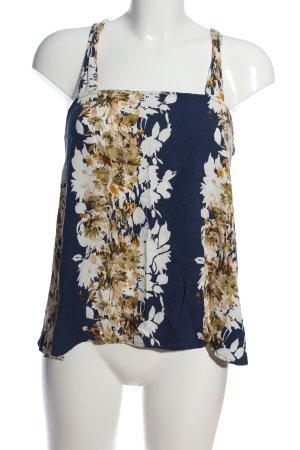 Sisley Blouse topje blauw-wolwit bloemenprint casual uitstraling