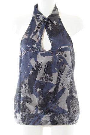 Sisley ärmellose Bluse blau-hellgrau abstraktes Muster Business-Look