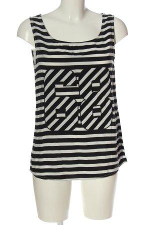 Sisley ärmellose Bluse schwarz-weiß Streifenmuster Casual-Look