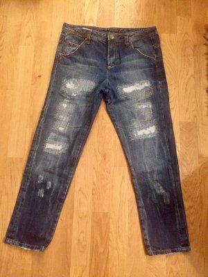 Sisley Boyfriend Jeans mit auffälliger Waschung Gr. M, nur 2x getragen
