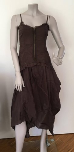 Sisley Bustier-Kleid Baumwolle asymmetrischer Saum dunkelbraun Gr. M