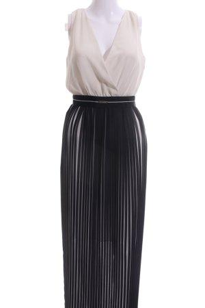Sisley Chiffonkleid nude-schwarz Streifenmuster Elegant