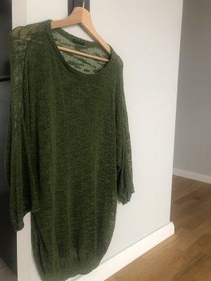 Sisley Sweter oversize khaki-leśna zieleń
