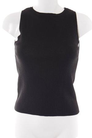 Sisley Sweter bez rękawów z cienkiej dzianiny czarny W stylu casual