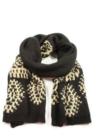 Sisley Écharpe en crochet noir-crème motif graphique style décontracté
