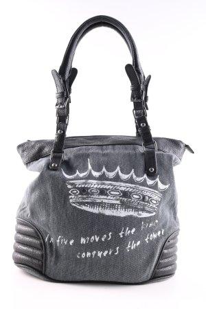 Sisley Handtasche hellgrau-weiß Motivdruck Casual-Look