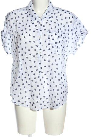 Sisley Hemd-Bluse weiß-blau Allover-Druck Casual-Look