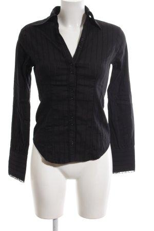 Sisley Hemd-Bluse schwarz Streifenmuster Business-Look