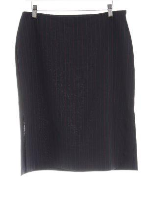 Sisley High Waist Rock schwarz-rot Streifenmuster Business-Look