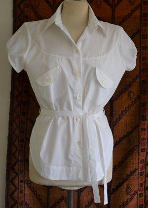 Sisley - Hochwertige weiße Bluse aus Baumwolle Gr. L neu