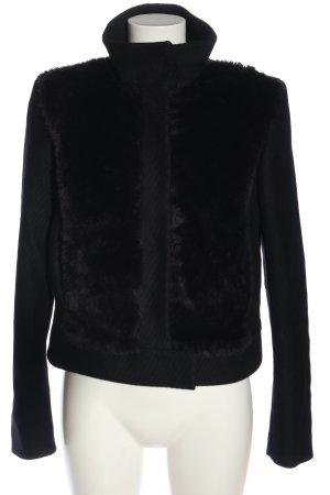 Sisley Fake Fur Jacket black casual look