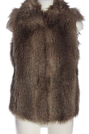 Sisley Fake Fur Vest brown animal pattern casual look