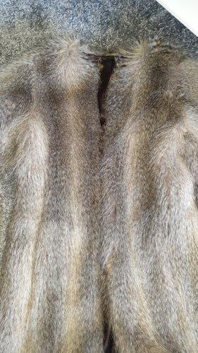 Sisley Giacca in pelliccia marrone-grigio
