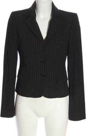 Sisley Kurz-Blazer schwarz-hellgrau Streifenmuster Business-Look