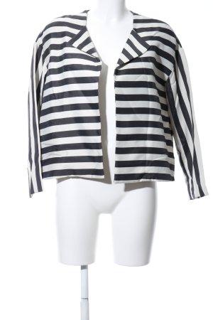 Sisley Kurz-Blazer schwarz-silberfarben Streifenmuster Elegant
