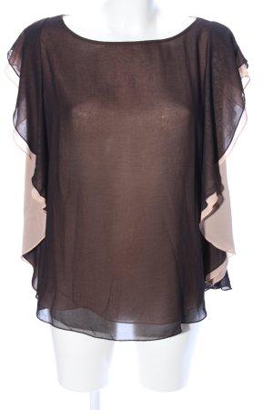 Sisley Kurzarm-Bluse nude-schwarz Elegant