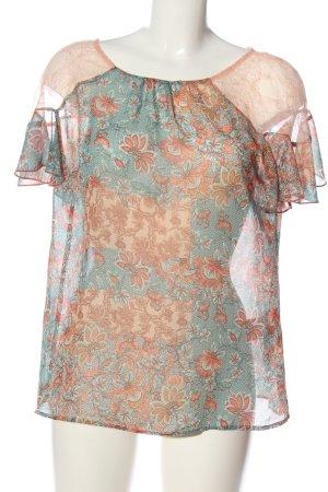 Sisley Kurzarm-Bluse nude-türkis Allover-Druck Street-Fashion-Look