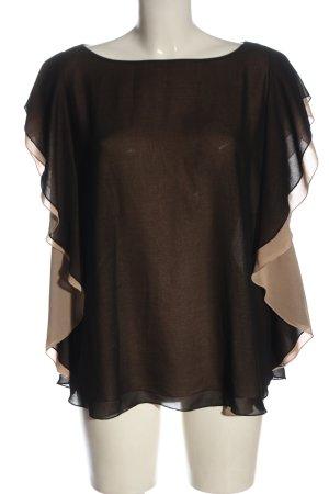 Sisley Kurzarm-Bluse schwarz-creme Elegant