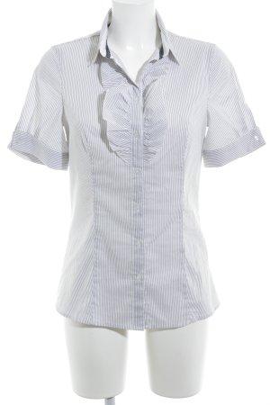 Sisley Kurzarm-Bluse hellgrau-weiß Streifenmuster Casual-Look
