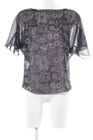 Sisley Kurzarm-Bluse schwarz-grau abstraktes Muster Transparenz-Optik
