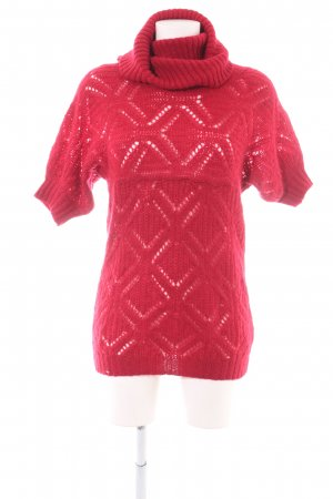 Sisley Maglione a maniche corte rosso punto treccia stile casual