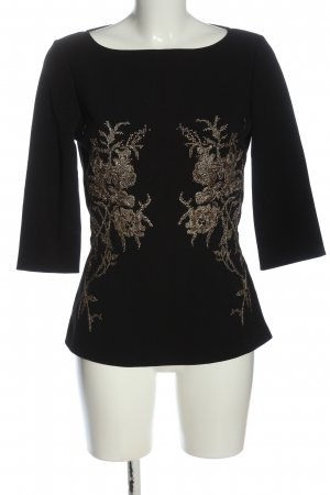 Sisley Langarm-Bluse schwarz-goldfarben Elegant