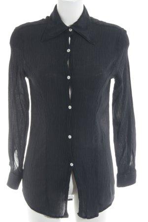 Sisley Langarm-Bluse schwarz schlichter Stil