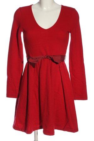 Sisley Vestido de manga larga rojo elegante