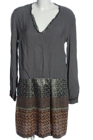 Sisley Minikleid hellgrau-braun Mustermix Casual-Look