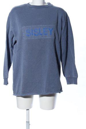 Sisley Oversized Pullover blau Schriftzug gedruckt Casual-Look