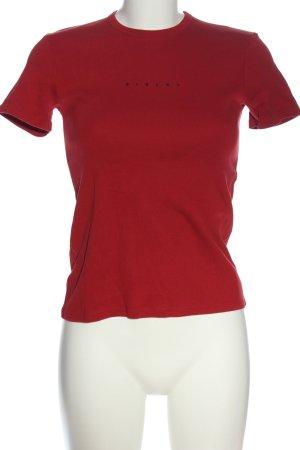 Sisley Print-Shirt rot-schwarz Schriftzug gedruckt Casual-Look