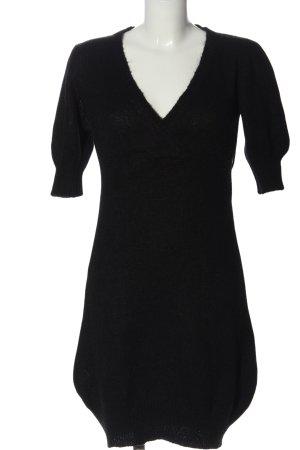 Sisley Vestido tipo jersey negro tejido mezclado