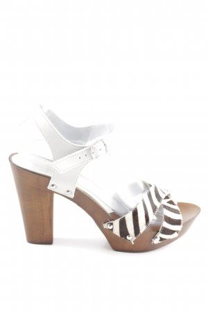 Sisley Riemchenpumps weiß-bronzefarben Animalmuster Casual-Look