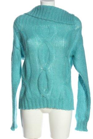 Sisley Rollkragenpullover blau Zopfmuster Casual-Look