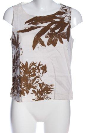 Sisley Schlupf-Bluse weiß-braun Blumenmuster Casual-Look