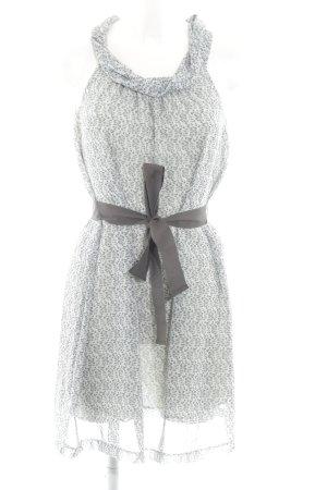 Sisley schulterfreies Kleid hellgrau-braun abstraktes Muster Casual-Look
