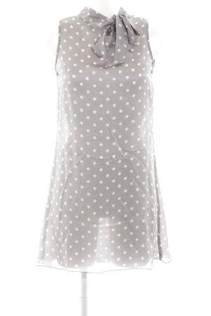 Sisley schulterfreies Kleid hellgrau-weiß Punktemuster Casual-Look